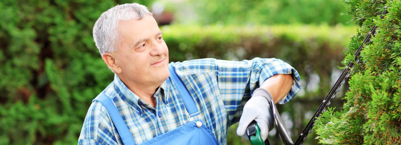 caucasian gardener smiling
